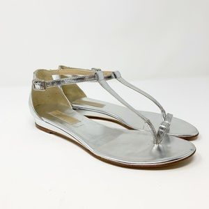 Michael Kors Silver Patent Leather Thong Sandals